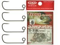 Carlige offset Vanfook TJ-31BL Barbless Trout Jig Hooks