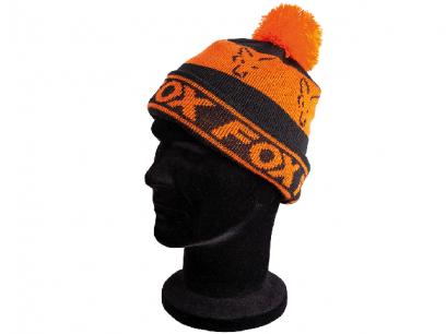 Caciula Fox Black and Orange Lined Bobble