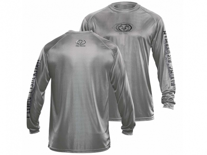 Flying Fisherman Logo Performance Grey Long Sleeve Tee