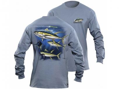 Flying Fisherman Yellowfin Tuna Indigo Blue Long Sleeve Tee